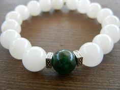 White and Green Jade Bracelet with Tibetan by TheStainInTheGlass, $11.00