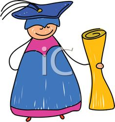 Graduation Clipart - Graduate with Diploma