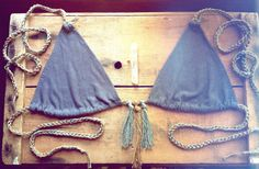bikini top bamboo/hemp color new moon by RunWithTheTribe on Etsy. $33.00, via Etsy.
