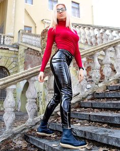 - More my photos and videos? Cute Summer Outfits, Sexy Outfits, Fashion Outfits, Womens Fashion, Shiny Leggings, Leggings Are Not Pants, Red Turtleneck, Mens Sleeve, Vinyl Fabric