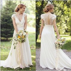 Ivory Cap Sleeve Chiffon Deep V Neck  A Line Wedding Dress With Flower Detail