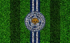 Download wallpapers Leicester City FC, LCFC, 4k, football lawn, emblem, logo, English football club, green grass texture, Premier League, Leicester, England, United Kingdom, football