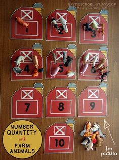 Number Quantity With Farm Animals - This activity is a fun way for children to exhibit number sense. It incorporates number quantity, counting, correspondence, and number recognition. Farm Animals Preschool, Preschool Themes, Preschool Crafts, Preschool Printables, Farm Animals Games, Reptiles Preschool, Toddler Preschool, Diy Crafts, Farm Activities