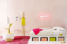 Pastel and neon kid room.