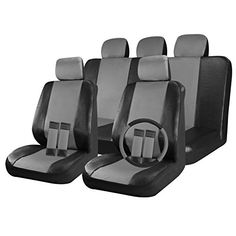 Cover Trend 17pc Faux Leather Car Seat Covers Full Set Black Charcoal Grey Front Low Back Buckets 5050 6040 Rear Split Bench Universal Fits Truck Suv W