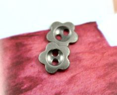 Metal Buttons - Five Petals Flower Metal Buttons , Nickel Silver Color ,2 Holes , 0.39 inch , 10 pcs
