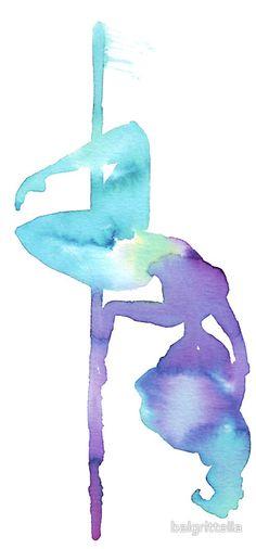 Pole dance in watercolors by balgrittella