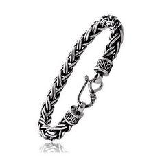 Hook Clasp Vintage Rope Bracelet in Sterling Silver For Men