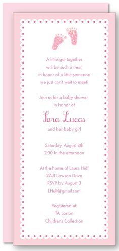 Girl Baby Feet Imprintable from 29th Street Designs. The invitation has a light pink scalloped border with pink baby feet at the top center. Printed on white recycled smooth paper. Sold in boxed sets of 10 invitations and coordinating envelopes or bulk 100 sheets and envelopes. Great invitation for a girl baby shower or christening.