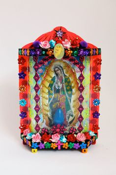 Our Lady of Guadalupe lamp / Mexican folk art / Rainbow colorful light / Virgin Mary Kitsch from Mexico