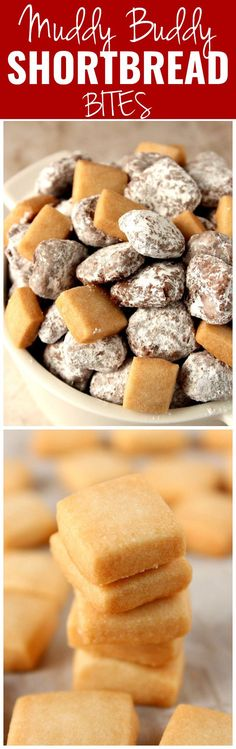 Muddy Buddies Shortbread Bites recipe - mini shortbread cookies coated with melted chocolate and tossed in powdered sugar make for a fun spin of a classic treat! So easy and absolutely irresistible! Cookie Recipes, Snack Recipes, Dessert Recipes, Snacks, Just Desserts, Delicious Desserts, Yummy Food, Melted Chocolate, Chocolate Art