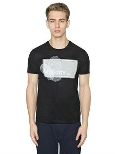 EMPORIO ARMANI IDENTITY PRINTED COTTON JERSEY T-SHIRT, BLACK. #emporioarmani #cloth #t-shirts