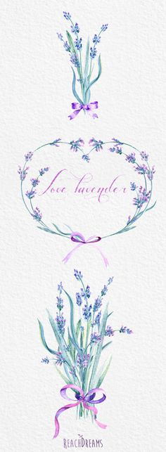 Lavender Watercolour Bouquets & Wreath Clipart. von ReachDreams