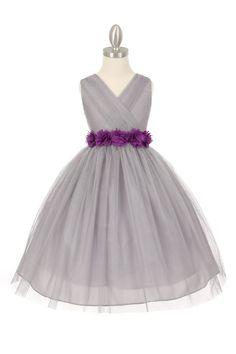 2173c14efa Silver Purple Tulle V-Neck with Removable Floral Sash Flower Girl Dress  Grey Flower