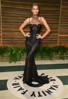Model Irina Shayk was stunning in an Atelier Versace gown at the Vanity Fair After Party. #VersaceCelebrities #Oscars2014