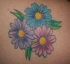 three daisy 25 Gratifying Daisy Tattoos