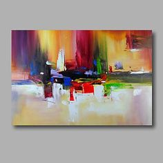 Ready to hang Stretched Hand-Painted Oil Painting on Canvas Wall Art Abstract Contempory Vivid Color Melody – GBP £ 41.39
