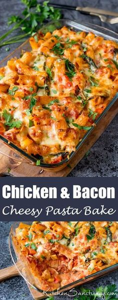 Pasta Bake With Chicken And Bacon Recipe Cheesy Pasta Bake With Chicken And Bacon - a family favourite (and it makes great leftovers too!Cheesy Pasta Bake With Chicken And Bacon - a family favourite (and it makes great leftovers too! Bacon Recipes, Casserole Recipes, Cooking Recipes, Healthy Recipes, Budget Cooking, Chicken Casserole, Slow Cooking, Budget Meals, Recipes With Bacon Easy