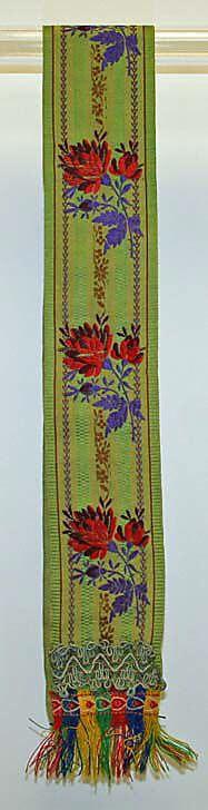 Sash.  Date: 1800–1939. Culture: Slovak. Medium: silk.