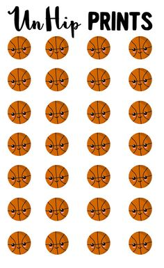 Sports Stickers Basketball Stickers Kawaii Sports by UnHipPrints