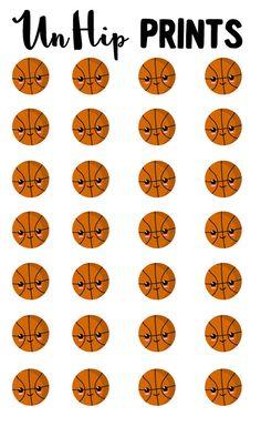 Sports Stickers Basketball Stickers Kawaii Sports by UnHipPrints
