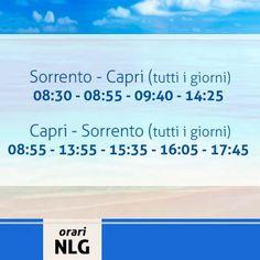 Buona serata a tutti! Oggi ricordiamo la linea Sorrento-Capri, tra le più frequentate del nostro Golfo che garantisce tutti i giorni le sue corse. Per info sulle altre linee, servizi ed acquisto biglietti on-line vi rimandiamo al nostro sito http://www.navlib.it/ita/index.asp