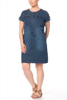 Büyük Bedende Şıklık - Büyük Beden Lacivert Elbise 5804 sadece 64,99TL ile Trendyol da