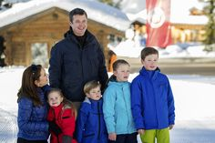 Princess Mary of Denmark, Princess Josephine of Denmark, Crown Prince Frederik of Denmark, Prince Vincent of Denmark, Princess Isabella of Denmark and Prince Christian of Denmark pose as the Danish Royal family hold their annual skiing photocall whilst on holiday on February 8, 2015 in Verbier, Switzerland.