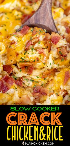 Slow Cooker Crack Chicken and Rice - a quick and easy weeknight recipe! Just dump everything in the slow cooker and dinner is done! Only a few simple ingredients - chicken, ranch dressing mix, bacon, Crockpot Dishes, Crock Pot Cooking, Cooking Recipes, Slow Cooker Easy Recipes, Chicken In The Crockpot, Healthy Crockpot Chicken Recipes, Crockpot Chicken And Dressing, Chicken Bacon Ranch Crockpot, Quick Crockpot Meals