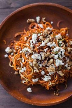 Roasted Spiralized Carrot, Feta and Toasted Walnut Salad