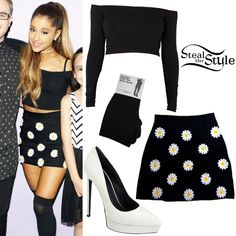 Ariana Grande posed with fans in Tampa wearing a Cotton Spandex Long Sleeve Off-Shoulder Top ($34.00) and Opaque Over-The-Knee Socks ($13.00) both from American Apparel, the O'Mighty Daisy Mini Skirt ($60.50) and a pair of Saint Laurent Janis Platform Pumps ($795.00).