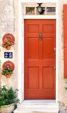 Windows and Doors of Charleston by Dawna Moore Photography Arched Front Door, Orange Front Doors, Craftsman Front Doors, Orange Door, Front Door Colors, Front Door Decor, Beautiful Front Doors, Unique Doors, Front Door Numbers