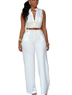 White Belted Sleeveless Wide Leg Formal Jumpsuit