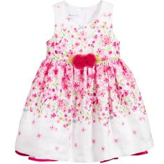 Bonnie Jean SS 2016 ***  White & Pink Floral Dress with Tulle Roses at Childrensalon.com