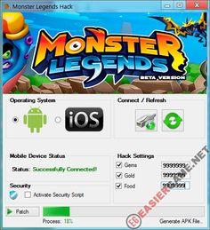 Unlimited Gems, Gold, Food in Monster Legends  Download Monster Legends Cheats:  http://easiergame.net/monster-legends-cheat-hack-ios-android/
