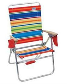The Hi-Boy® Beach Chair sits 17 inches off the ground, almost double our classic beach chair height of 8 inches. Additional features include: solid hardwood armrests, attached drink holder and a separate pouch for dry items, a cell phone pocket, and a padded shoulder strap. More colors available.