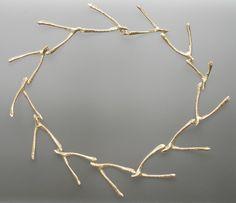 Necklace | Mia Straka. 'Wishbone'.  Bone and sterling silver