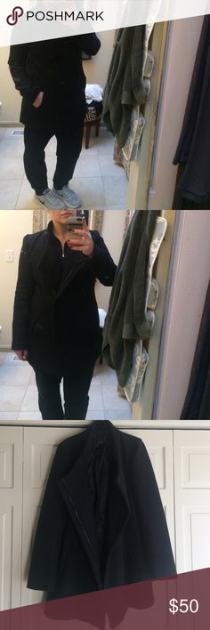 Jacket This black textured jacket is a dream! Very warm! It's a stylish, classic jacket that you'll pair with everything! All buttons and zippers are in great condition. Jack. Jackets & Coats Pea Coats
