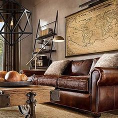 walletsandwhiskey: This is a gentlemen's dream living room. #classy #rustic…