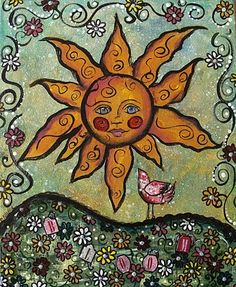 My Art Journal: Mixed Media Paintings Could use sun face card from the Framed Fun stamp set and add in other stamps. Art Journal Inspiration, Celestial Art, Moon Art, Painting, Sun Art, Art, My Arts, Art Journal, Book Art