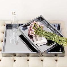 "Blue Mirrored Glass Trays Rectangle: 18""w x 14""d x 2.25""h. Butler: 28""w x 18""d x 2.25""h."