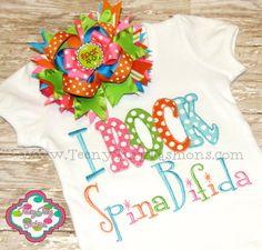 I ROCK Spina Bifida custom embroidered onesie by TeenyTinyFashions, $25.00