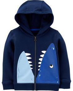 Toddler Boy Shark Zip-Up French Terry Hoodie Carters Baby Boys, Toddler Boys, Baby Boy Coats & Jackets, Colorful Hoodies, Boys Hoodies, Sweatshirts, Zip Up Sweater, Hoodie Jacket, French Terry