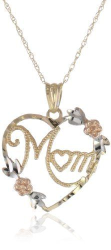 """Klassics 10k Gold Two-Tone Polished Diamond Cut Heart with """"MOM"""" Pendant Necklace, 18"""" Amazon Curated Collection. $55.00. Made in Canada"""