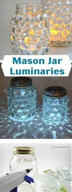 pegar piedras translucidas a un frasco y adentro poner una vela: FAROL CHORO