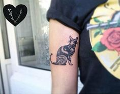 Outer space cat tattoo