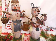Primitive Steampunk Wooden Snowmen Couple