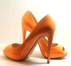 Truth or Dare by Madonna, Natural Bardawa Open Toe Pump Shoes, Orange, Size 7.5 #TruthorDarebyMadonna #OpenToeHighheelPumps http://stores.ebay.com/ECLECTIC-GOODIES-EG