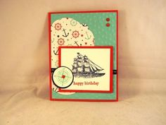 Stampin' Up! materials used to make this nautical birthday card.  https://www.etsy.com/shop/moww
