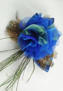 Royal Blue Turquoise Silk Flower Clip--Style # 1093. silk, peacock & pheasant feather